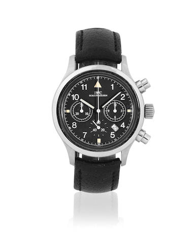 IWC. A stainless steel quartz calendar chronograph wristwatch  Pilots Flieger Chronograph, Ref: 3740, Circa 2000