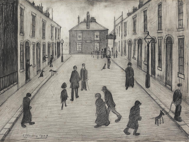 Laurence Stephen Lowry R.A. (British, 1887-1976) Oldham Road 28 x 38.5 cm. (11 x 15 1/8 in.)