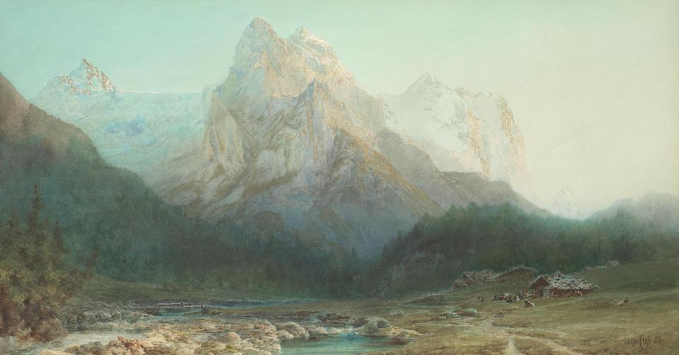 Arthur Croft (British, 1828-died circa 1893) Eiger, Mittellegi ridge; Wellhorn and Wetterhorn seen from Rosenlaui, a pair  each 30.5 x 57.2cm (12 x 22 1/2in).(2)