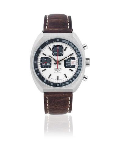 Heuer. A stainless steel manual wind calendar chronograph wristwatch Circa 1970