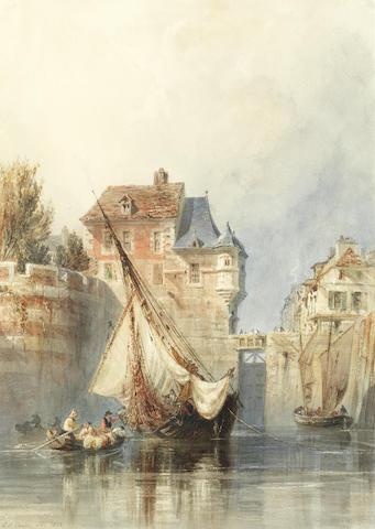Edward William Cooke, RA (British, 1811-1880) A riverside town