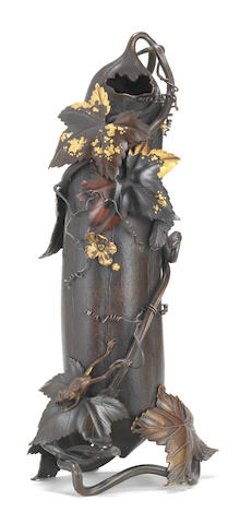 An exquisitely cast and inlaid bronze hanaike (flower vase) in the form of a gourd  By Shoami Katsuyoshi (1832-1908), Meiji era (1868-1912), late 19th century