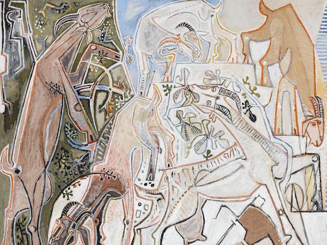 John Craxton R.A. (British, 1922-2009) Five Goats 121.9 x 149.4 cm. (48 x 58 7/8 in.)