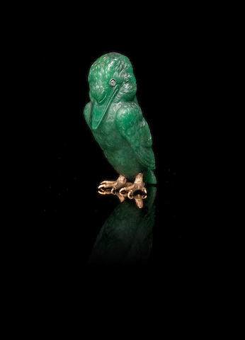 An aventurine quartz figure of a kingfisherFabergé, workmaster Henrik Wigström, St. Petersburg, 1899-1908