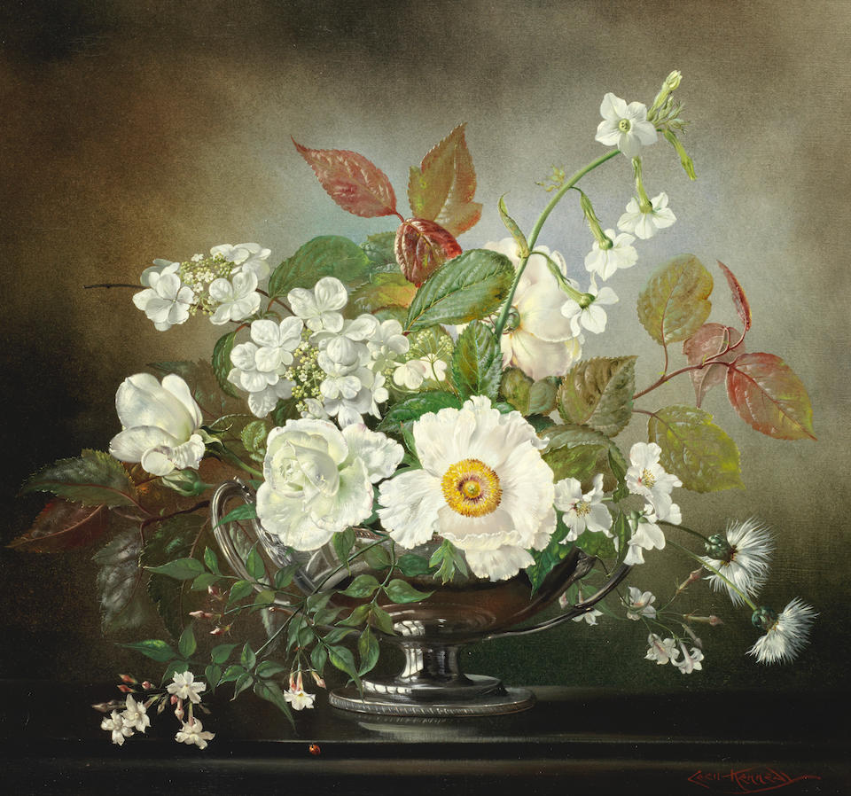 Cecil Kennedy (British, 1905-1997) White summer flowers in a silver vase