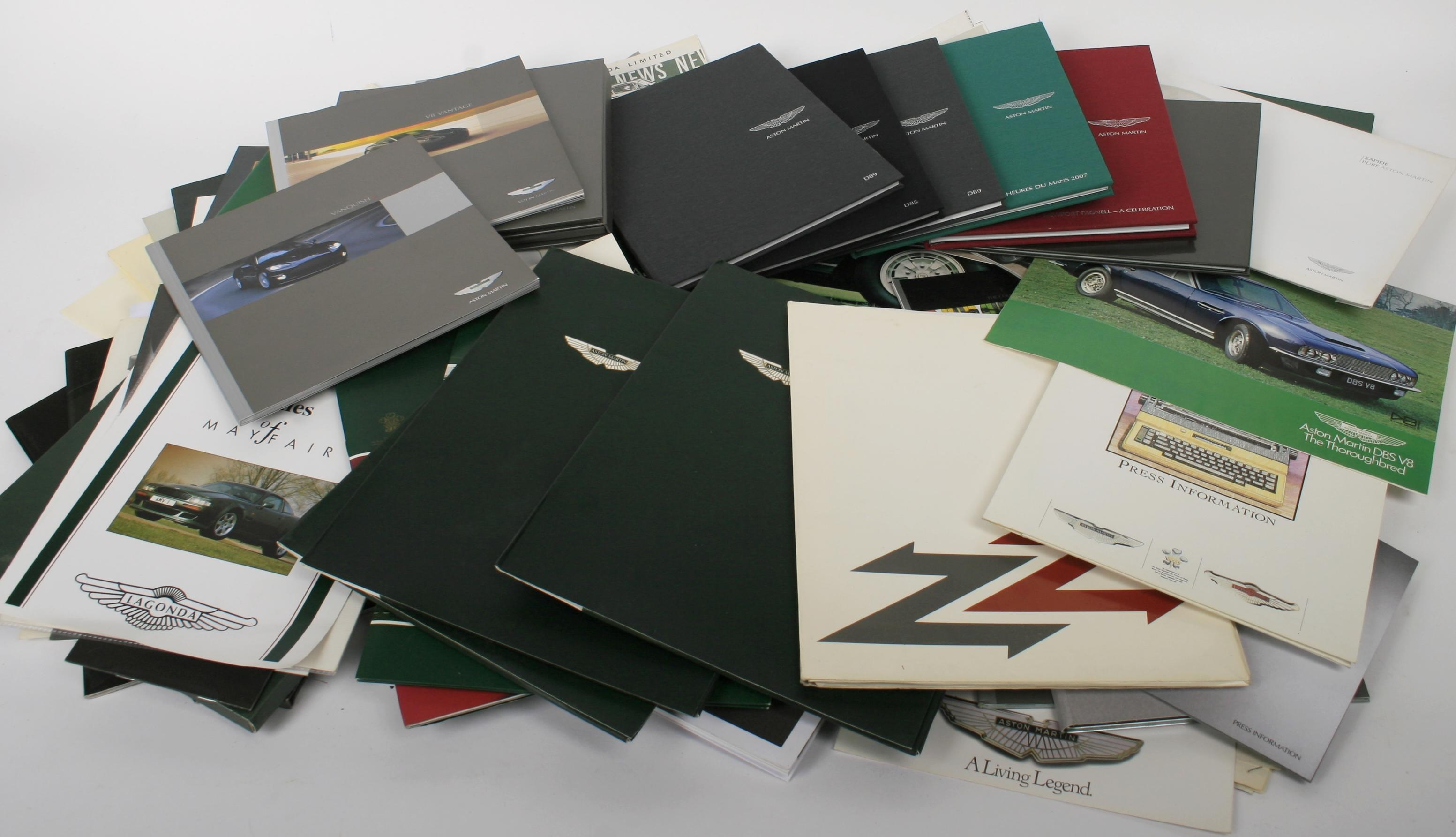 An assortment of Aston Martin and Lagonda literature and sales publications,