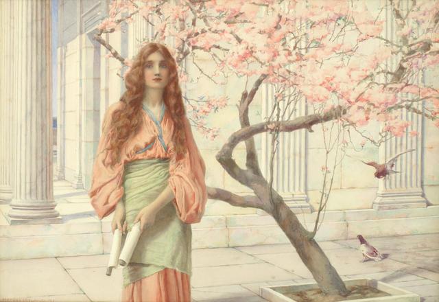 Henry Ryland, RI (1856-1953) Beneath the cherry blossom