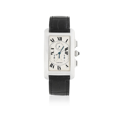 Cartier. An 18K white gold quartz calendar chronograph rectangular wristwatch  Tank Américaine, Ref: 2312, Circa 2000