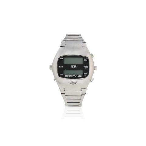 Heuer. A stainless steel quartz digital display calendar chronograph bracelet watch  Chronosplit, Ref: 100.703, Circa 1978