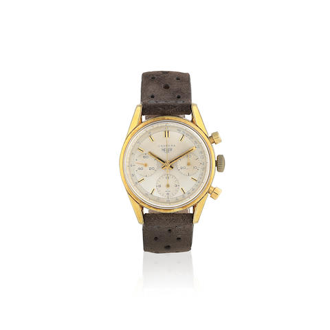 Heuer. A gold plated and stainless steel manual wind chronograph wristwatch  Carrera, Ref: 2448, Circa 1970