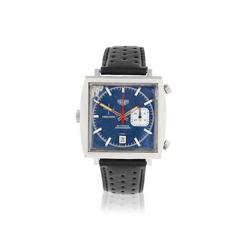 Heuer. A stainless steel automatic calendar chronograph square wristwatch  Monaco, Ref: 1533, Circa 1970