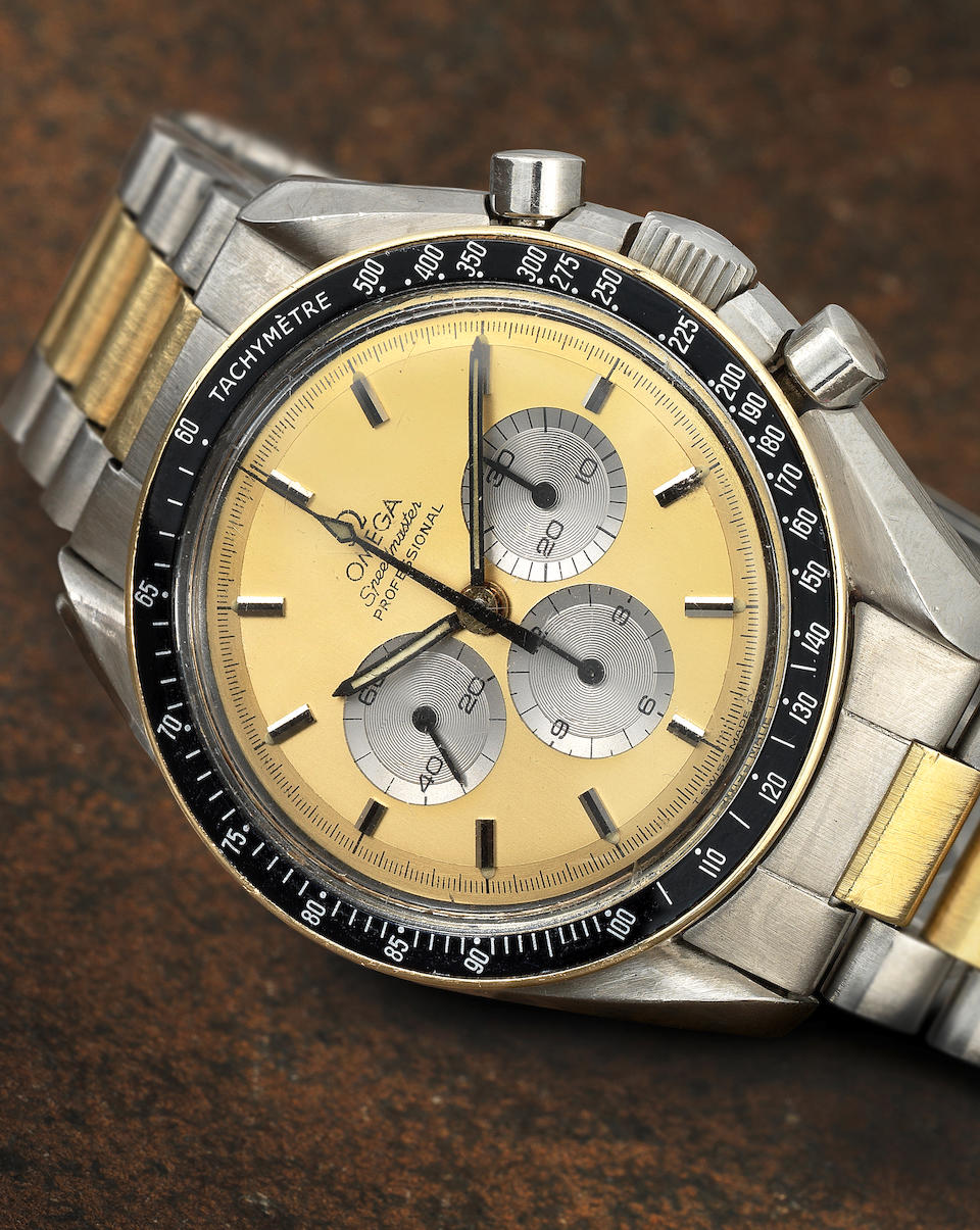 Omega. A stainless steel and gold manual wind chronograph bracelet watch  Speedmaster Professional, Ref: DD145.022, Circa 1980