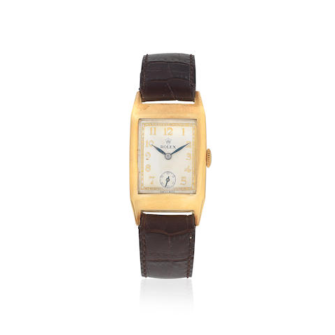 Rolex. A 9K gold manual wind rectangular wristwatch   Prince, Ref: 2736, Glasgow Import mark for 1938