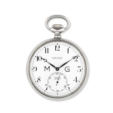 Ulysse Nardin. A stainless steel military manual wind open face pocket watch for the French Armed Forces Movement Circa 1919, cased Circa 1945