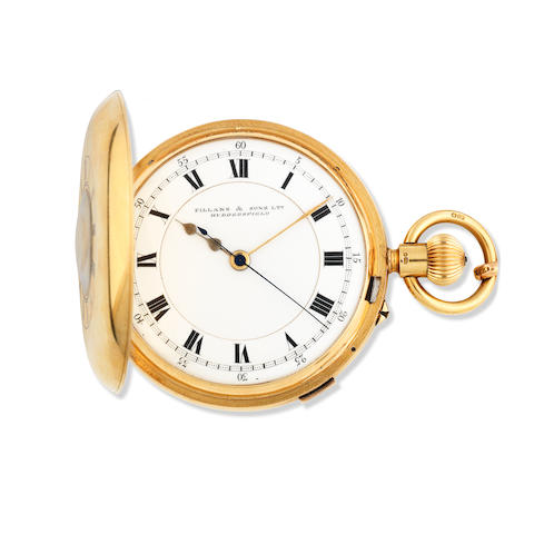 Fillans & Sons Ltd, Huddersfield. An 18K gold keyless wind half hunter pocket watch with stop/start seconds Birmingham Hallmark for 1924