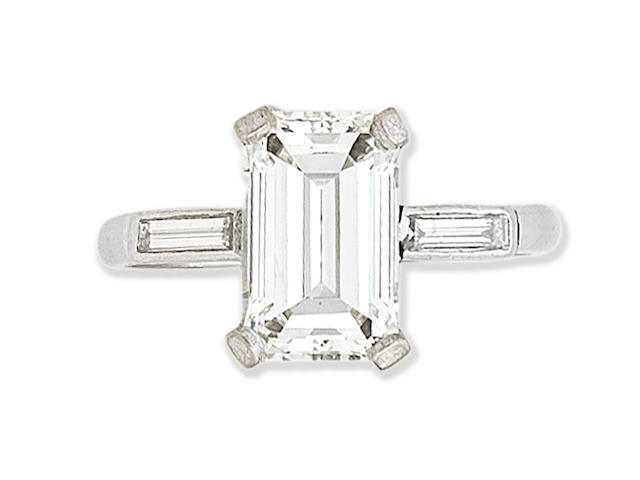 A step-cut diamond ring