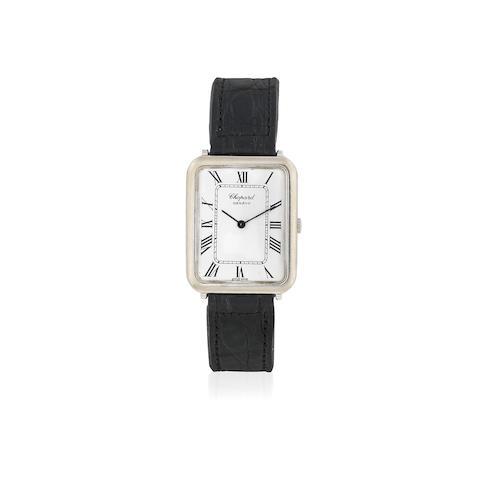Chopard. An 18K white gold manual wind rectangular wristwatch Circa 1970