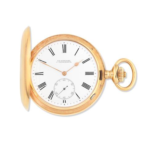 Ch. F. Tissot & Fils, Locle.  A 14K gold keyless wind full hunter pocket watch made for the Russian market Circa 1890