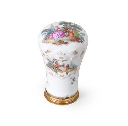 A German porcelain cane handle Probably 19th Century