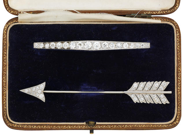 A diamond bar brooch and sûreté pin set, early 20th century, retailed by Hamilton & Inches