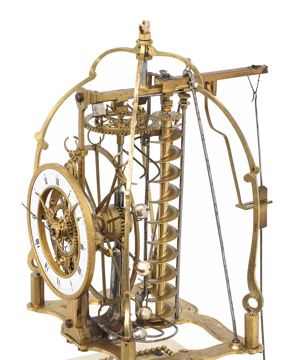 A very rare early 19th century 'perpetual motion' French rolling ball skeleton clock