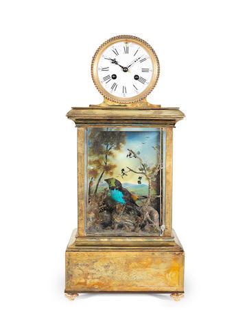 A large late nineteenth century French gilt-brass singing bird clock H&F 4640 1