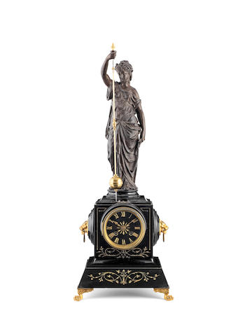 A late 19th century French bronze spelter and marble figural rotary clock signed Farcot and numbered 13632 2