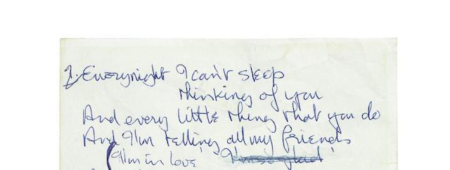 John Lennon: Original handwritten lyrics for I'm In Love,  1963,