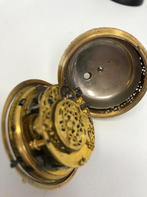 Gamaliel Voyce. A gold key wind quarter repeating pair case pocket watch with repoussé decoration Circa 1740
