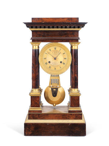 An Early 19th Century French Gilt Brass Mounted Mahogany Portico Clock with Compensated Pendulum Jan Caceaux Hger a Paris 2