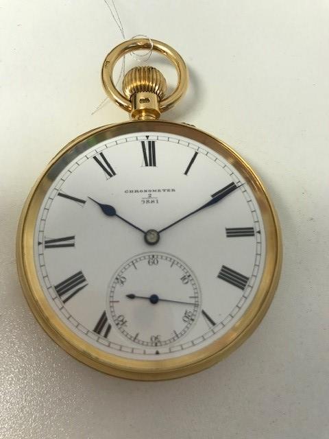 M. W. Edwards, Norwich. An 18K gold keyless wind open face chronometer pocket watch London Hallmark for 1909