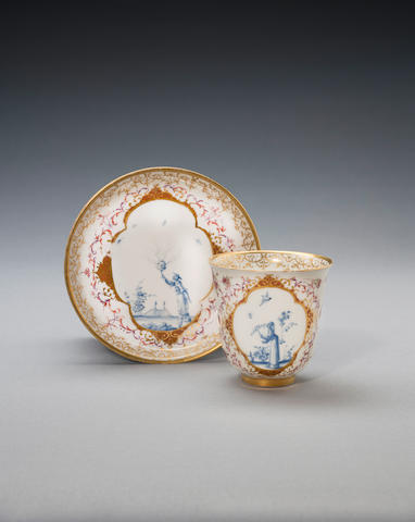 A very rare Meissen beaker and saucer, circa 1728
