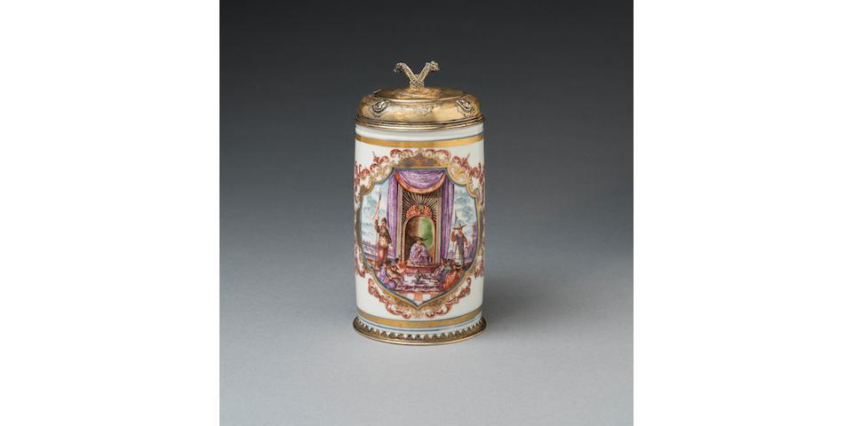 A very rare Meissen silver-gilt-mounted tankard, circa 1723-24