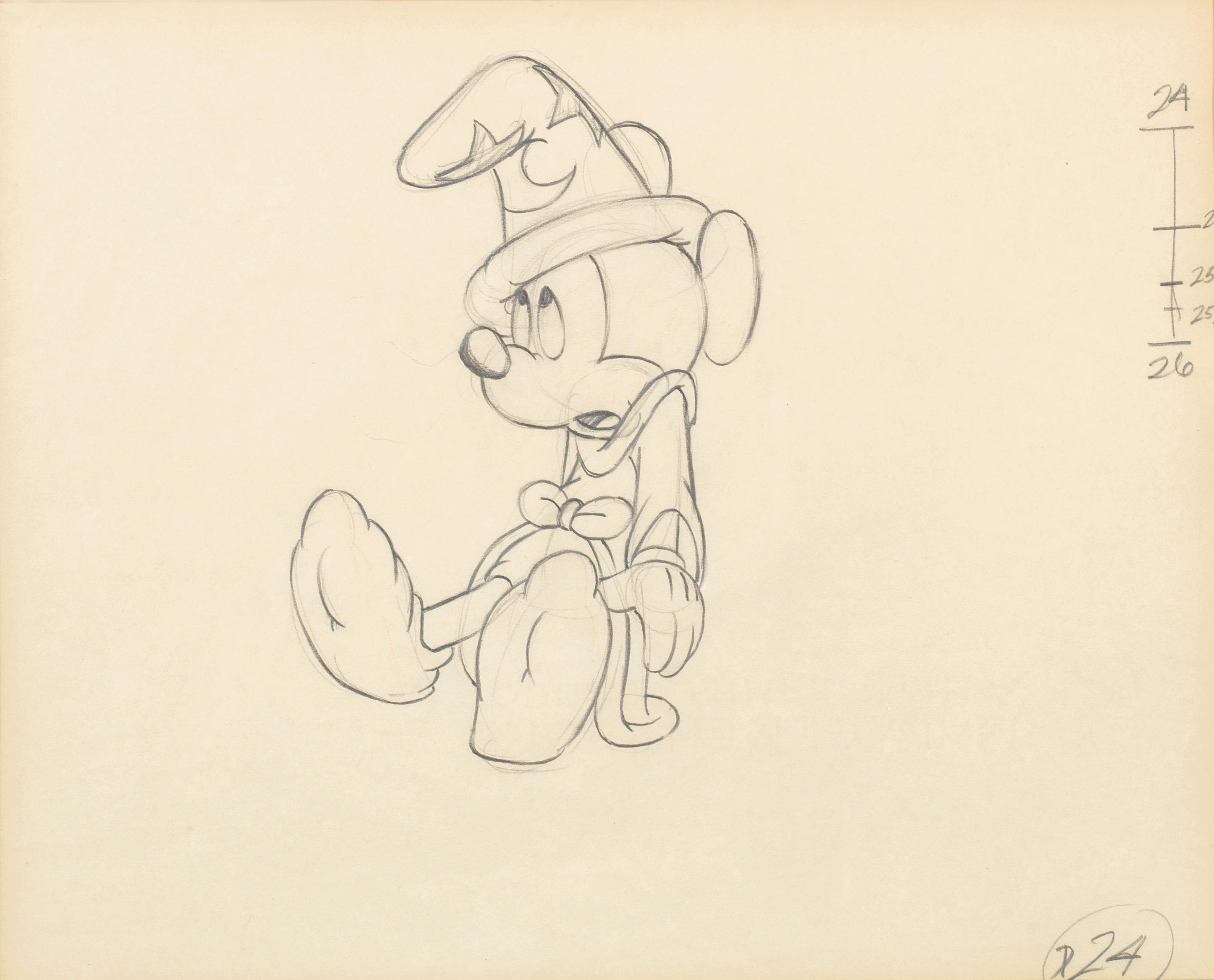 Fantasia: An animation drawing of 'Mickey Mouse' from Fantasia,