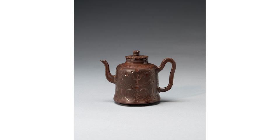 A rare Meissen Böttger stoneware teapot and cover, circa 1710-13