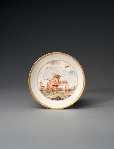 An early Meissen saucer, circa 1723