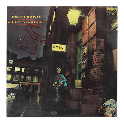 David Bowie: An autographed album cover for The Rise and Fall Of Ziggy Stardust And The Spiders From Mars,