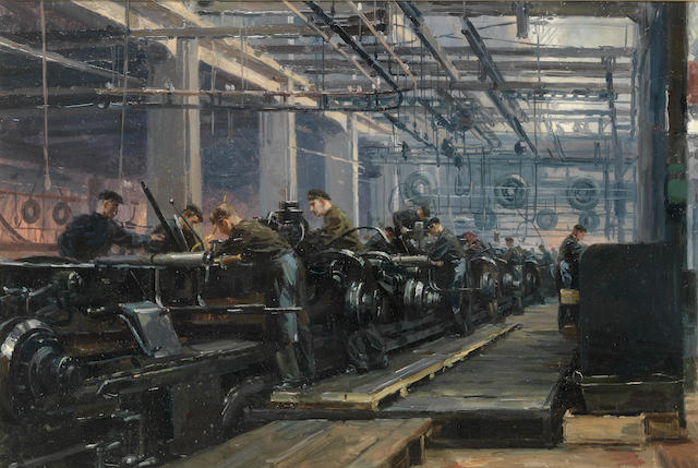 Petr Tarasovich Maltsev (Russian, 1907-1993) 'Labour'; the production line at the Stalin Automobile Plant