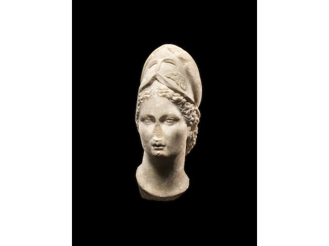 A Roman marble head of Minerva