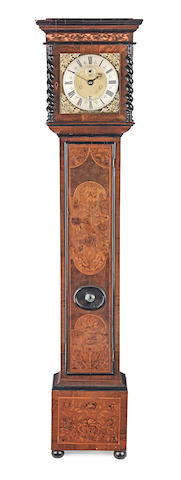 A late 17th century walnut marquetry longcase clock with ten inch dial John Chatfield, London