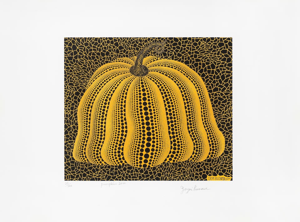 Yayoi Kusama (Japanese, born 1929) Pumpkin 2000 (yellow) Screenprint in colours, 2000, on wove paper, signed, titled, dated and numbered 21/200 in pencil, published by Serpentine Gallery, London, the full sheet, in good conditionImage 299 x 350mm. (11 3/4 x 13 3/4in.); Sheet 481 x 640mm. (18 7/8 x 25 1/4in.)