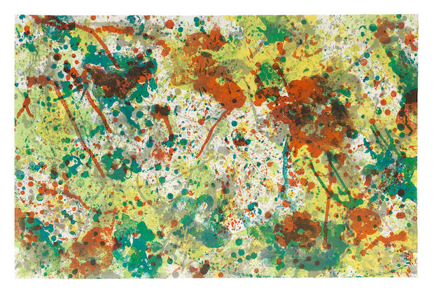 Sam Francis (American, 1923-1994) and Pink  Lithograph in colours, 1973, on Rives BFK wove paper, signed and inscribed 'CTP I' in pencil, one of three unique colour trial proofs aside from the edition of 28, published by The Litho Shop Inc., Santa Monica, California Sheet 662 x 1034mm. (26 x 40 3/4in.)Please note that this lot is framed.