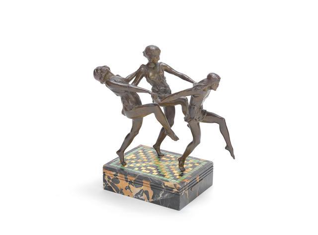 pierre le faguays (French, 1892-1962)    'La Dance': An Art Deco Study of Three Female Dancers