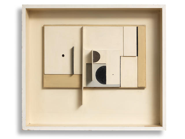 Victor Pasmore R.A. (British, 1908-1998) Abstract in White, Black and Ochre 64.2 x 73.6 cm. (25 1/4 x 29 in.) (including the artist's painted box frame) (Executed between 1951-3)