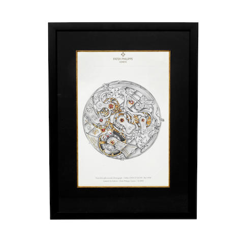 A framed Limited Edition Patek Philippe lithograph depicting an extra thin split-seconds Calibre CH R 27-525 PS from a Ref.5959 2005