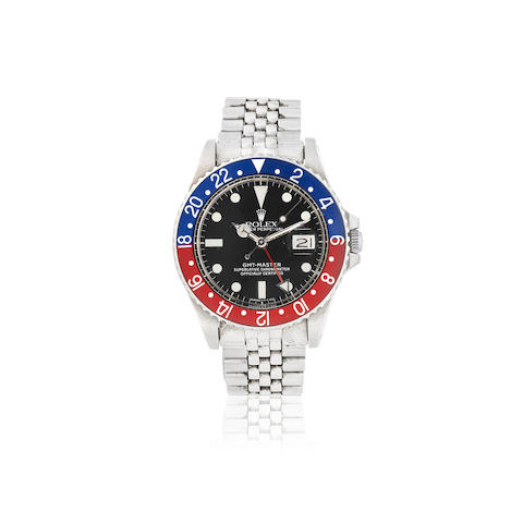 Rolex. A stainless steel automatic calendar bracelet watch with dual time zone  GMT Master 'Pepsi', Ref: 1675, Circa 1975