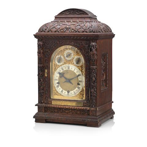 A 19th century oak cased repeating bracket clock
