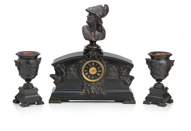 A 19th century bronze and slate clock garniture  The dial inscribed 'William Rodger Paris'
