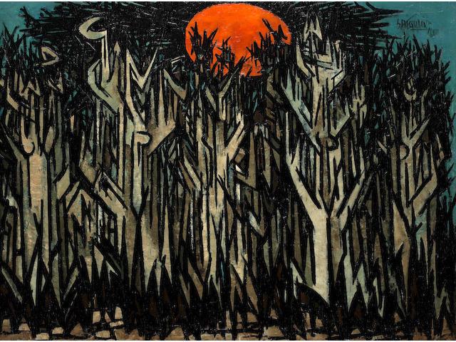 Sadequain (Pakistan, 1937-1987) Red Sun Sunrise