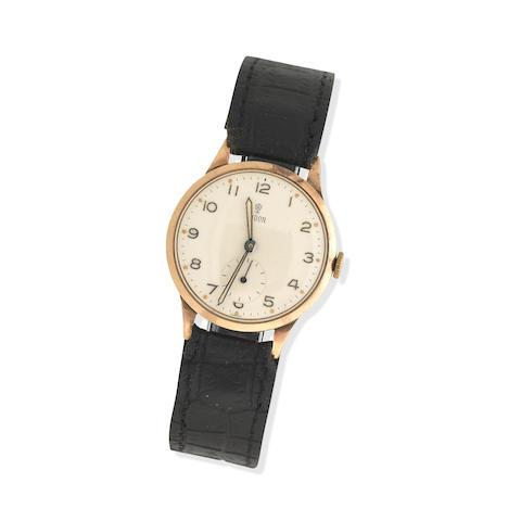 A 9ct gold Rolex Tudor manual wind wristwatch The dial inscribed 'Tudor, Edinburgh 1957'
